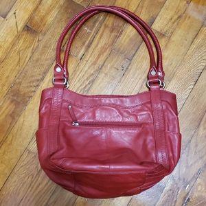 Tignanello red leather hobo shoulder purse